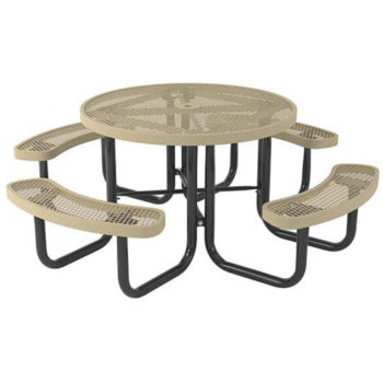 "ound Table, 3/4"" #9 Expanded Metal, 4 Concave Seats"