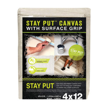 Click image to open expanded view Stay Put Canvas Drop Cloth with Slip Resistant Surface Grip